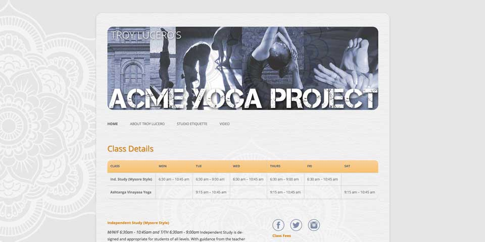Troy Lucero's Acme Yoga Project